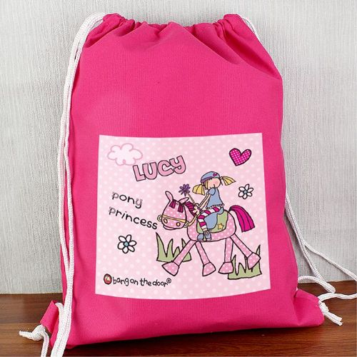Personalised Bang On The Door Pony Girl Swim bag